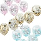 BABY SHOWER CONFETTI BALLOONS x 5 - Pink/Blue/Gold Decorations - RANGE IN SHOP