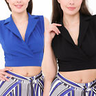 Women Ladies Sleeveless Collared V Neck Wrap Over Crop Top Blouse