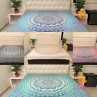 Queen Size Cotton Flat Bed Sheet Bed Cover Floral Mandala Double Bedspread Dorm image