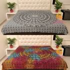 King Size Cotton Flat Bed Sheet Bed Cover Elephants Mandala Bedspread Bedding