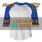 3 PACK MENS BASEBALL TEE RAGLAN T SHIRT JERSEY 3/4 SLEEVE CASUAL T SHIRTS S-3XL