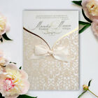 50 Wedding Invitations Flocked & Goldened Personalised Free P*P FREE ENVELOPES