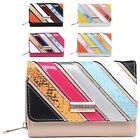 Ladies Faux Leather Multi Tone Snakeskin Diamante Purse Wallet Handbag M095-326
