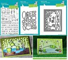 Lawn Fawn TOADALLY AWESOME Stamps/Dies, w/ BAYOU BACKDROP Choose Indiv or Combo