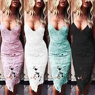 UK Womens Strappy Plunge Bodycon Dress Ladies Evening Party Lace Midi Dress 6-16
