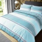 Banded stripe Quilt Duvet Cover With Pillowcases Bedding Set Teal All Sizes