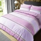 Banded stripe Quilt Duvet Cover With Pillowcases Bedding Set Lilac All Sizes