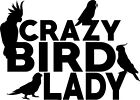 Crazy Bird Lady Decal Window Bumper Sticker Cockatoo Cockatiel Parrot Conure