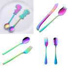 Lovely Cutlery Stainless Steel Fork Knife Spoon Silverware Flatware Set Rainbow