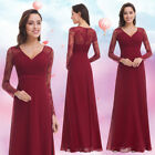 Ever-Pretty Long Formal Wedding Dress V-neck Lace Bridesmaid Prom Gowns 08692