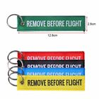 1Pc Remove Before Flight Embroidered Canvas Luggage Tag Label Key Chain