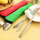 3Pcs Fork Spoon Chopsticks Stainless Steel Cutlery Portable Camping Bag Goodish