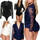 Womens Plus Size Molly Lace Long Sleeve Bodysuit Lace Top Leotard UK 16-24