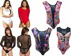 Womens Stretch Mesh Halter Neck Bodysuit Leotard Black Blouse Ladies Tops Σ