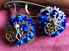 Satin Peony Royal Blue Flower Steampunk Octopus Gears Corsage Pin Brooch NEW