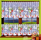 """Kitchen Curtain Cafe Net Curtain Lace White Sold by the metre 20"""" Strawberry"""