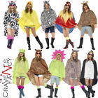 Adult Festival Waterproof Animal Print Poncho Ladies Mens Unisex Fancy Dress New