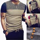hyoglossus muscle - Men Slim Fit O Neck Short Sleeve Muscle Tee T-shirt Button Casual Top Blouse Lot