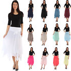 Ladies Womens Lagenlook Cotton Lace Layer Summer Maxi Skirt Aline Hippy Festival