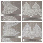 1 METRE BRIDAL LACE BEADED SEQUENCED WEDDING APPLIQUE SEW ON FASHION DRESSING