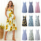 Womens Summer Casual Sleeveless Floral Strappy Beach Sundress Maxi Dress Party