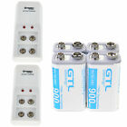 4pc 900mAh Li-ion Rechargeable Batteries & 9 Volt Charger 9V High Volume US