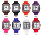 Square Case Silicone Band Analog Watch With Cross Design