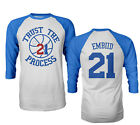 "Philadelphia 76ers ""Trust The Process"" Joel Embiid Mens Raglan Quarter T-Shirt on eBay"