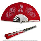 Martial Art Tai Chi Kung Fu Fighting Fan Steel Frame with Dragon Black Blue Red