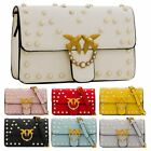 Women's New Studded Synthetic Leather Golden Birds Embellishment Shoulder Bag