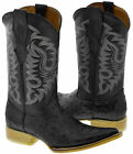 Men's Black Ostrich Design Western Leather Cowboy Boots Pointed Toe Natural Sole