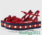 Luxury Womens Platform Red Rivets Pearls Straw Handmade Sandals Ankle Belt Shoes