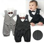 Baby Boy Wedding Christening Formal Tuxedo Outfit Suits Romper Clothes NEWBORN