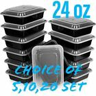 24oz Meal Prep Food Containers with Lids, Reusable Microwavable Plastic BPA free