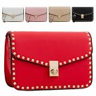 Ladies Faux Leather Studded Satchel Bag Twist Clasp Handbag Shoulder Bag KT2184