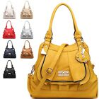 Ladies Designer Fx Leather Diamante Dog Charm Shoulder Bag Tote Handbag A34356