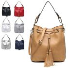 Ladies Stylish Fx Leather Tassle Drawstring Shoulder Bag Bucket Handbag M3560-1