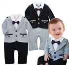 Baby Boy Wedding Tuxedo Party Suit Outfits Clothes Romper Formal Wear Dress