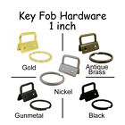 25 - 1 Inch Key Fob Hardware w/ Key Rings - Pick From 5 Finishes - Wristlets
