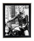 Kate Moss Motorcycle Black & White Poster or Art Print