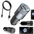 Super Fast Dual In Car Charger 3.1A 12V For iPhone samsung HTC LG & Type C Cable