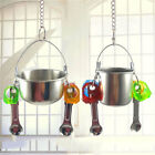 Small Pet Dish Bowl Hanging Feeding Parrots Bowls Bird Food Water Feeder S/L