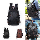 Men's Vintage Backpack School Bag Travel Satchel PU Leather Book Bag Rucksack image