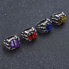 Vintage Stainless Steel Ring Men's Alloy Dragon Claw Evil Eye Finger Ring Gifts