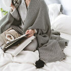 Air Conditioning Blanket Sofa Office Nap Throw Cotton Stripe Bed Cover Hair Ball
