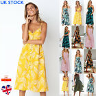 UK Womens Floral Print Ladies Button Midi Dress Summer Beach Holiday Size 6-22