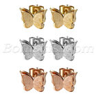 2pcs Womens Charm Frosted Stainless Steel 3D Butterfly Screw Back Studs Earrings