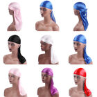 Durag Headwear Headband Pirate Cap Women Hat Smooth Silk Nylon Cap  Solid Color