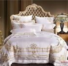 100%Egyptian Cotton Soft White Gold Embroidery Royal Duvet Cover Bedding Set UPS image