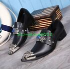 Mens Chic Pointy Metal Toe Low Heels Leather Dress Formal Shoes Slip On Loafers